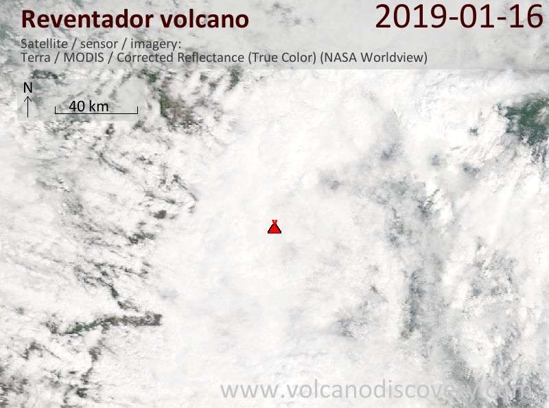 Satellite image of Reventador volcano on 16 Jan 2019