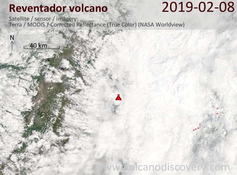 Satellite image of Reventador volcano on  8 Feb 2019