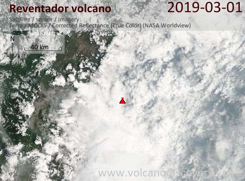 Satellite image of Reventador volcano on  1 Mar 2019