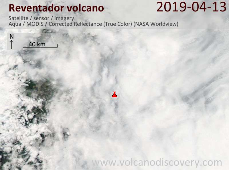 Satellite image of Reventador volcano on 13 Apr 2019