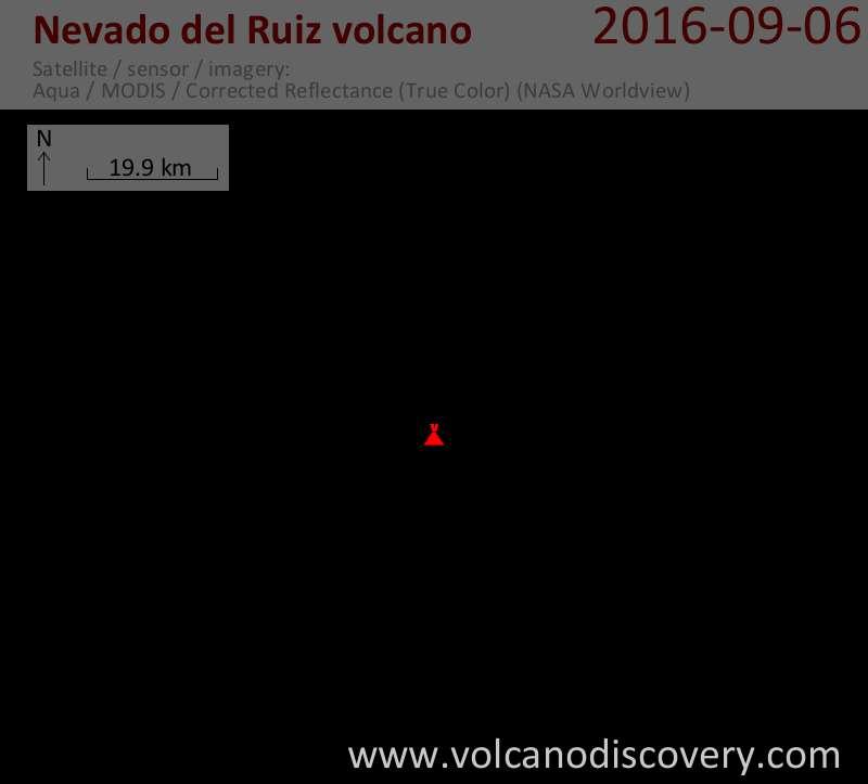 Satellite image of Nevado del Ruiz volcano on  6 Sep 2016