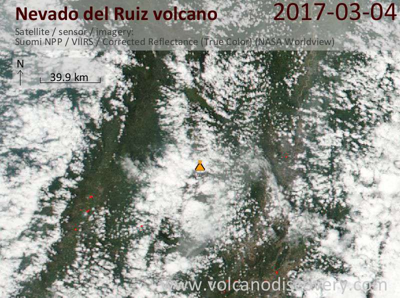 Satellite image of Nevado del Ruiz volcano on  5 Mar 2017