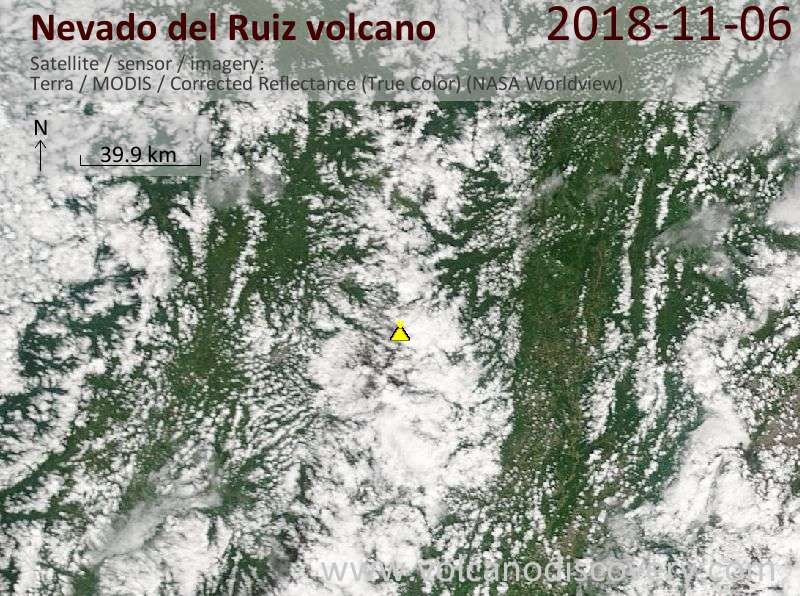 Satellite image of Nevado del Ruiz volcano on  6 Nov 2018