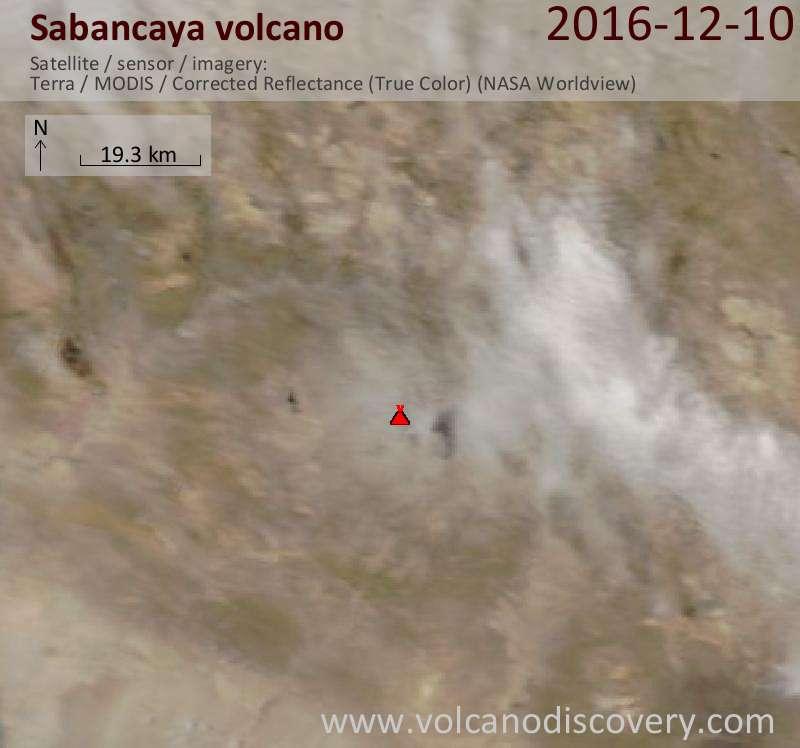 Satellite image of Sabancaya volcano on 10 Dec 2016