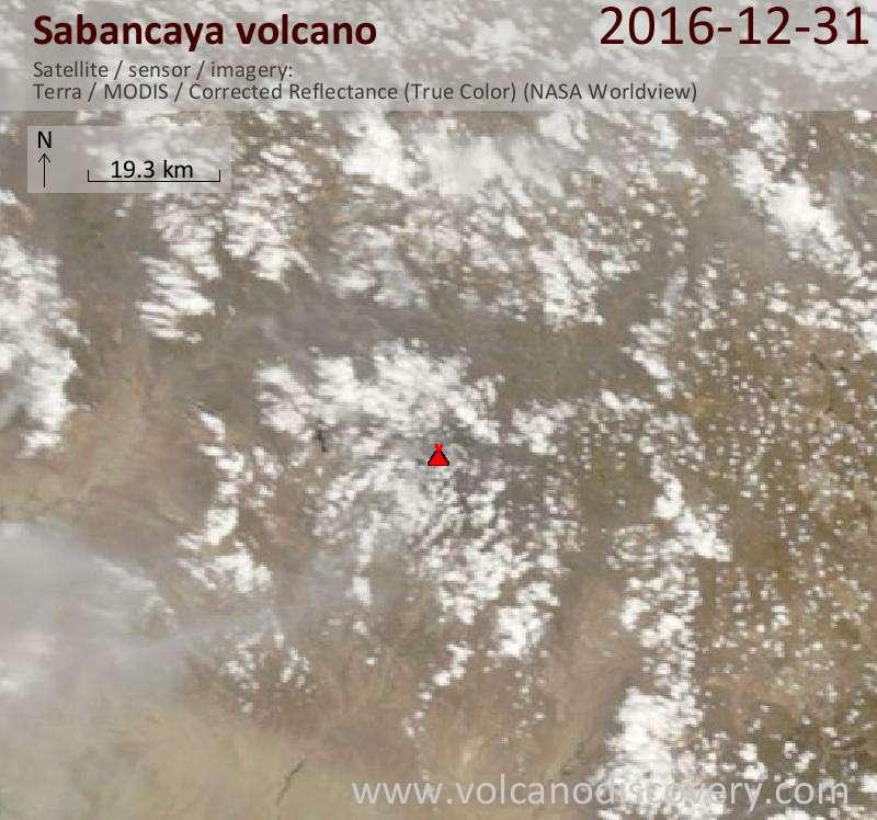 Satellite image of Sabancaya volcano on 31 Dec 2016