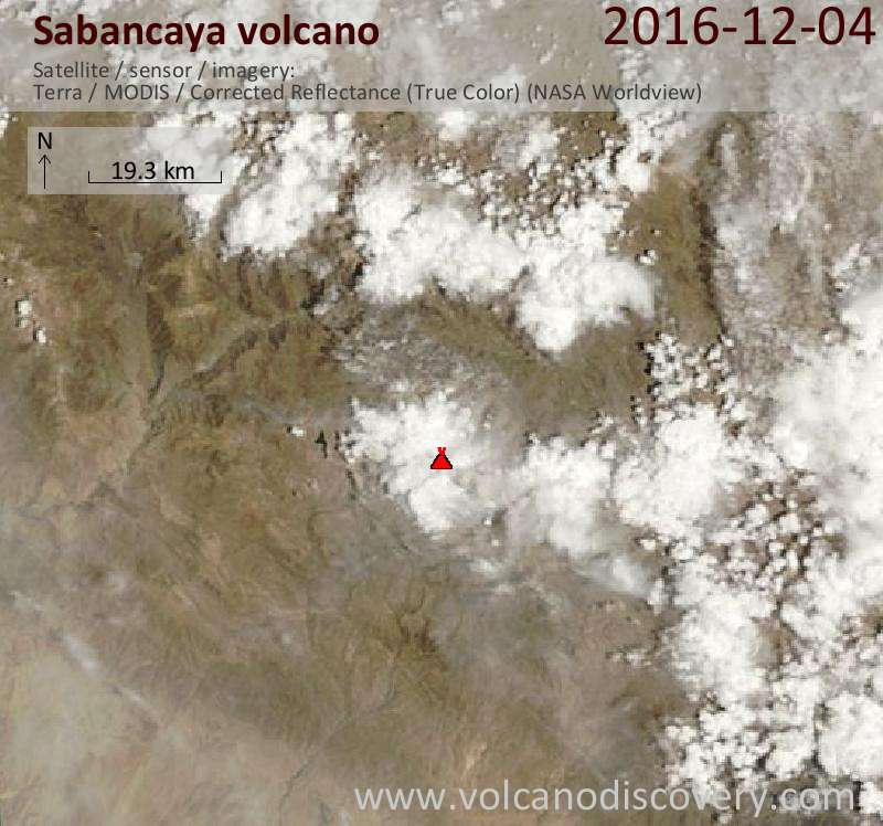 Satellite image of Sabancaya volcano on  4 Dec 2016