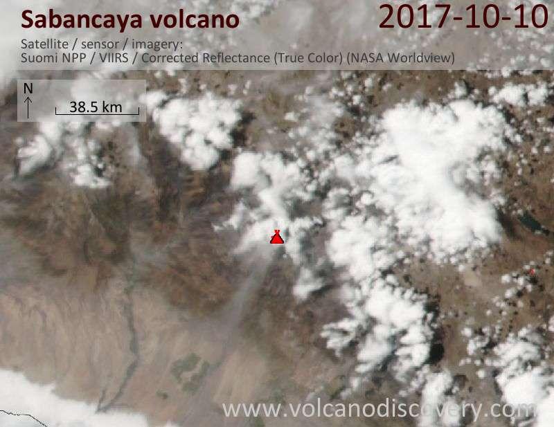 Satellite image of Sabancaya volcano on 11 Oct 2017