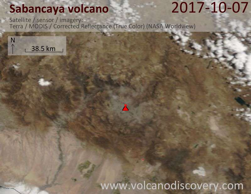 Satellite image of Sabancaya volcano on  8 Oct 2017
