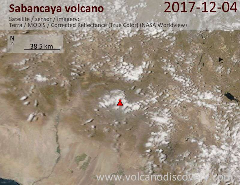 Satellite image of Sabancaya volcano on  4 Dec 2017