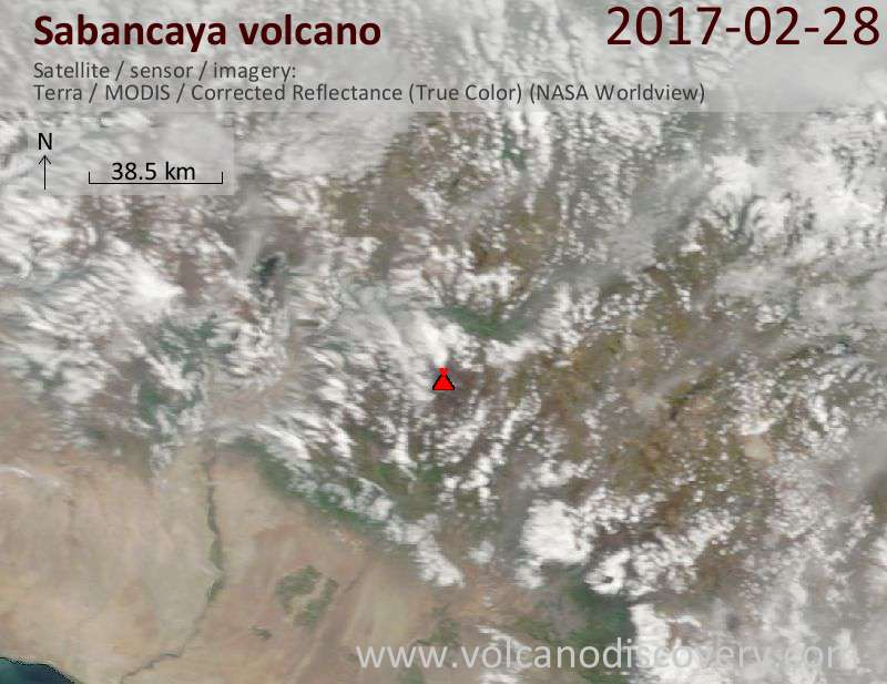Satellite image of Sabancaya volcano on  1 Mar 2017