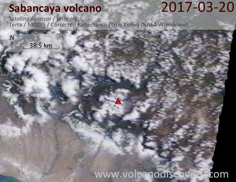 Satellite image of Sabancaya volcano on 21 Mar 2017
