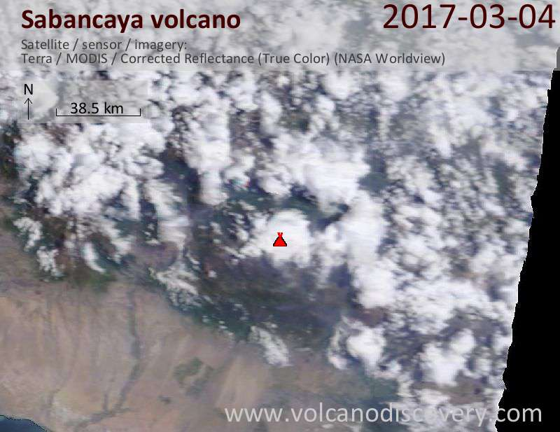 Satellite image of Sabancaya volcano on  4 Mar 2017