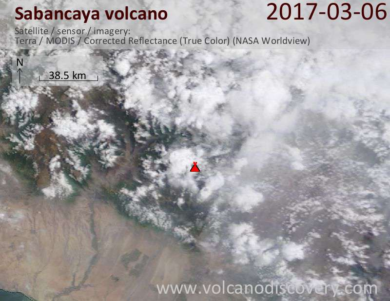 Satellite image of Sabancaya volcano on  6 Mar 2017