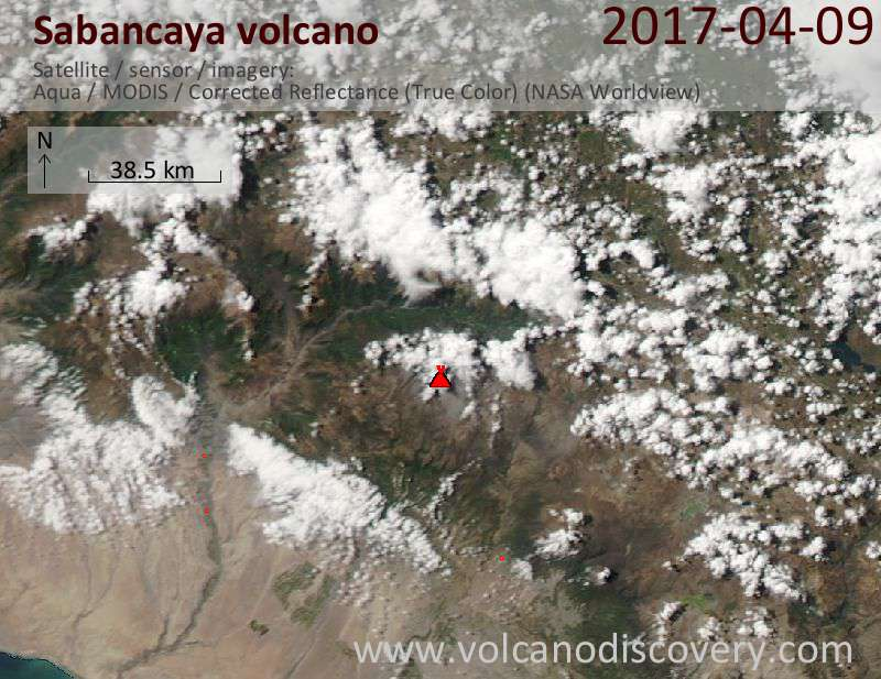Satellite image of Sabancaya volcano on 10 Apr 2017