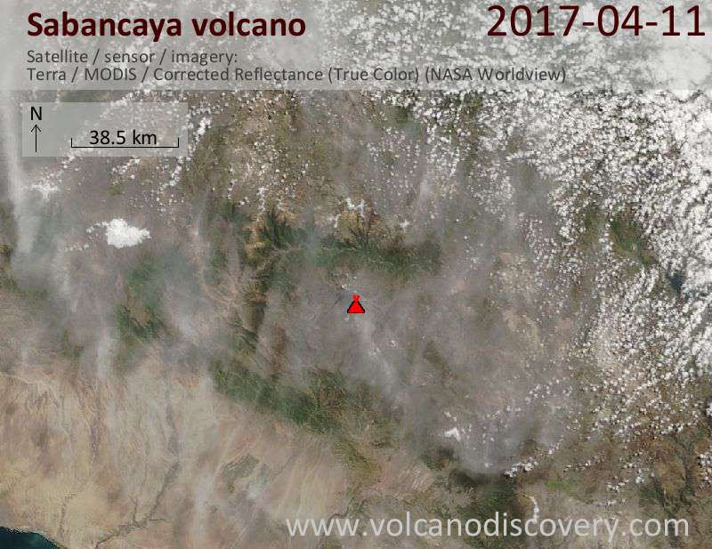Satellite image of Sabancaya volcano on 12 Apr 2017