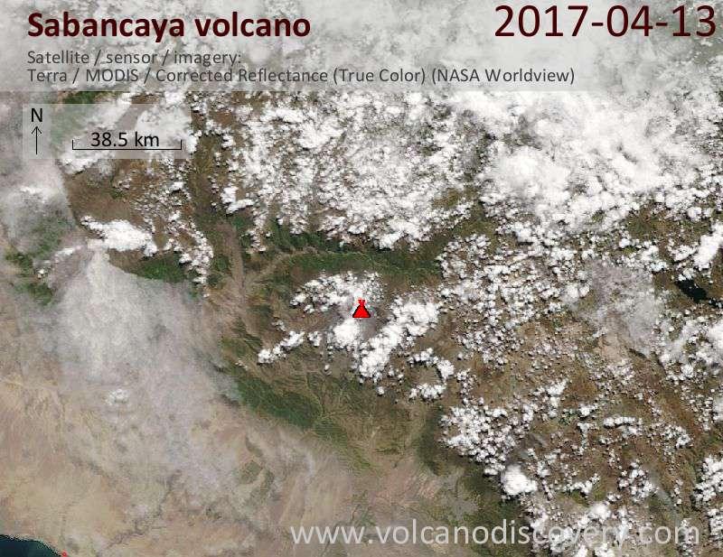 Satellite image of Sabancaya volcano on 14 Apr 2017