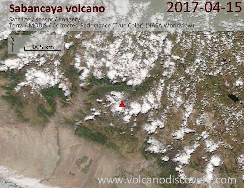 Satellite image of Sabancaya volcano on 16 Apr 2017