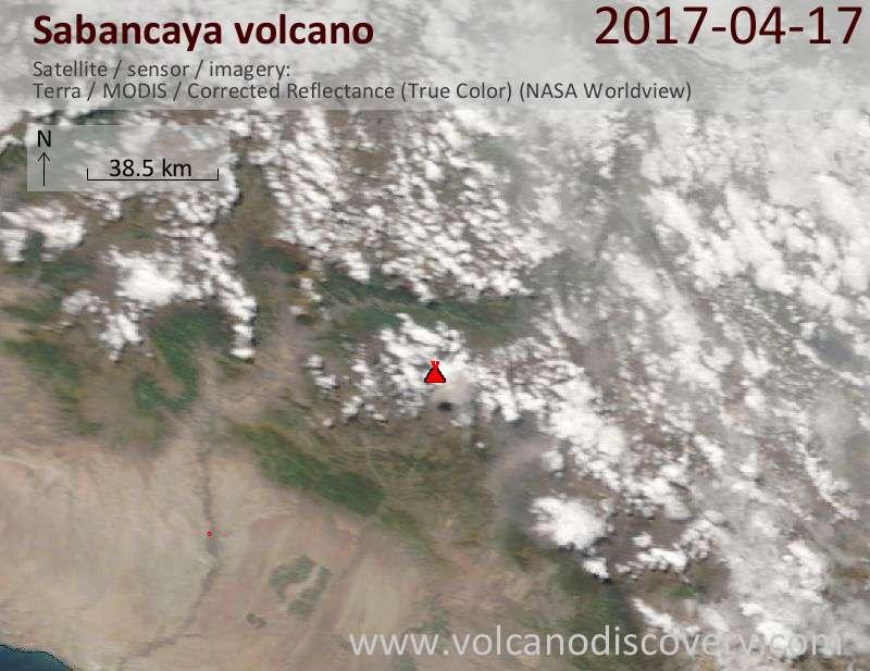 Satellite image of Sabancaya volcano on 18 Apr 2017