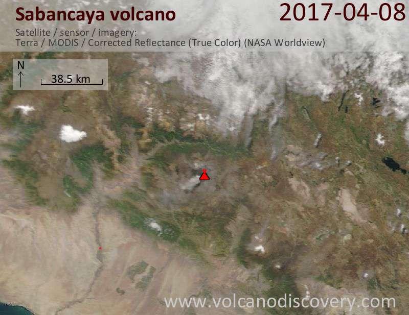 Satellite image of Sabancaya volcano on  8 Apr 2017