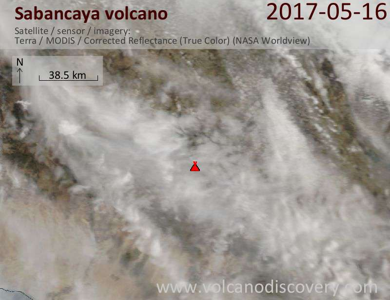 Satellite image of Sabancaya volcano on 16 May 2017