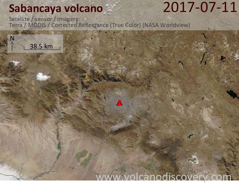 Satellite image of Sabancaya volcano on 12 Jul 2017