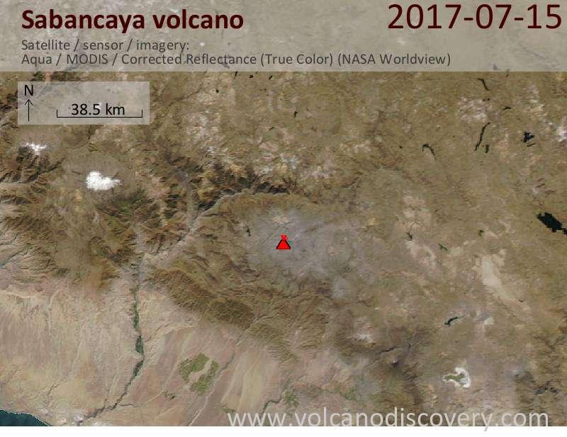 Satellite image of Sabancaya volcano on 16 Jul 2017