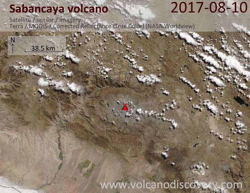 Satellite image of Sabancaya volcano on 10 Aug 2017