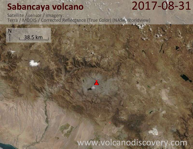 Satellite image of Sabancaya volcano on 31 Aug 2017