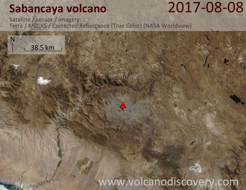 Satellite image of Sabancaya volcano on  8 Aug 2017