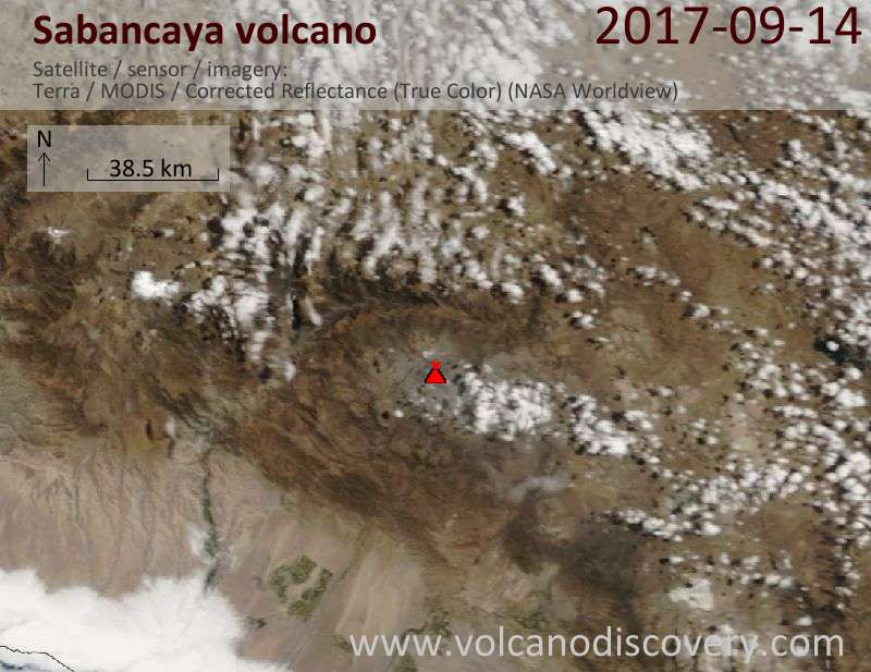 Satellite image of Sabancaya volcano on 14 Sep 2017