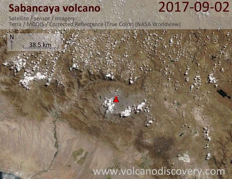 Satellite image of Sabancaya volcano on  2 Sep 2017