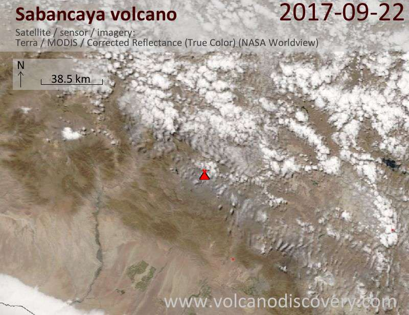 Satellite image of Sabancaya volcano on 22 Sep 2017