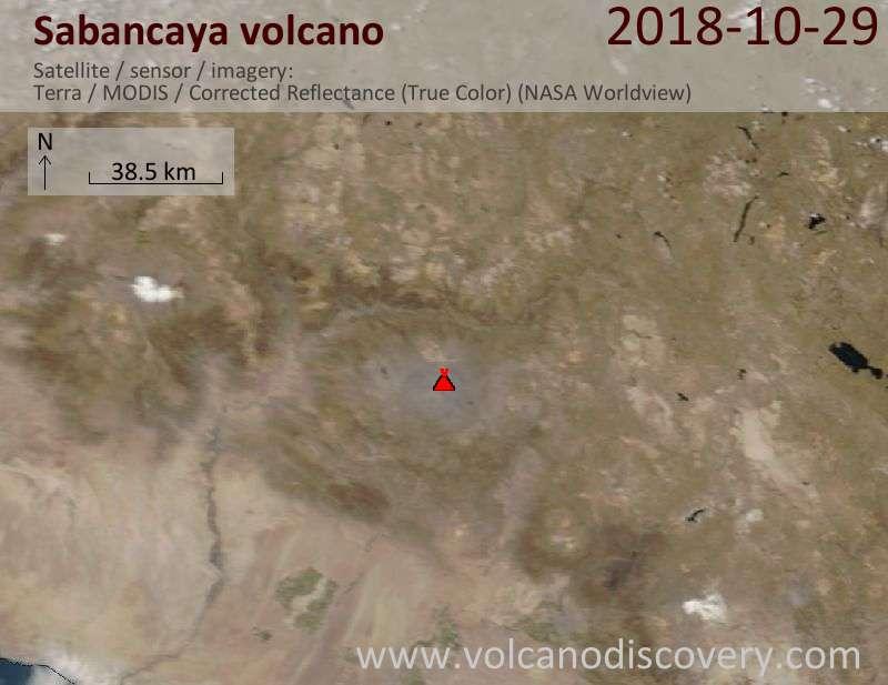 Satellite image of Sabancaya volcano on 29 Oct 2018