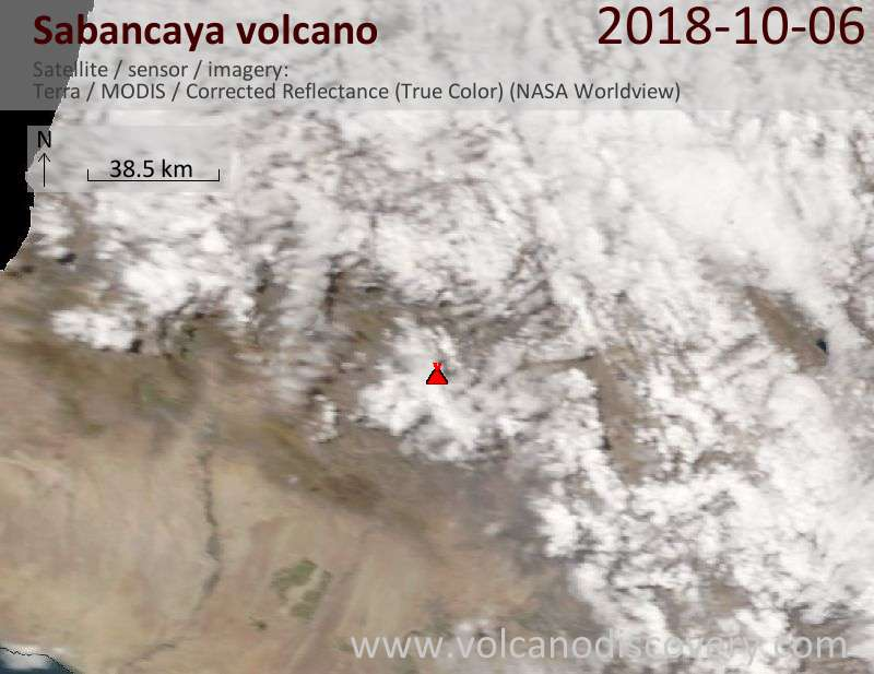 Satellite image of Sabancaya volcano on  6 Oct 2018