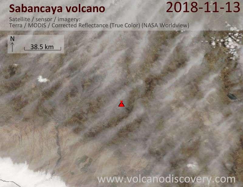 Satellite image of Sabancaya volcano on 13 Nov 2018