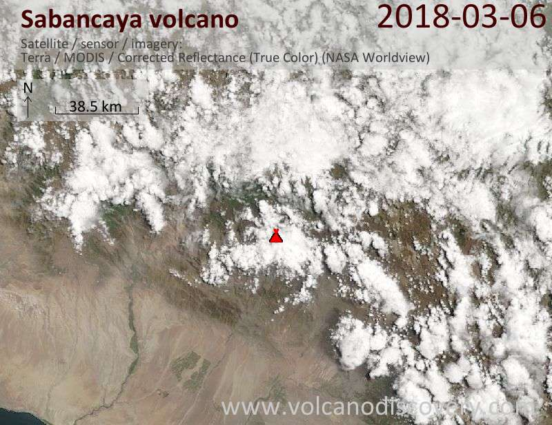Satellite image of Sabancaya volcano on  6 Mar 2018