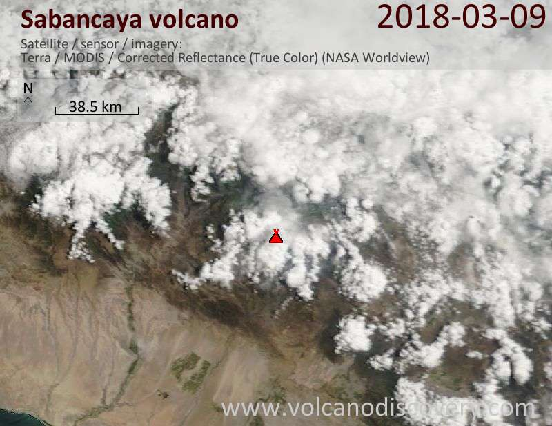 Satellite image of Sabancaya volcano on  9 Mar 2018