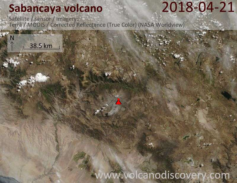 Satellite image of Sabancaya volcano on 21 Apr 2018