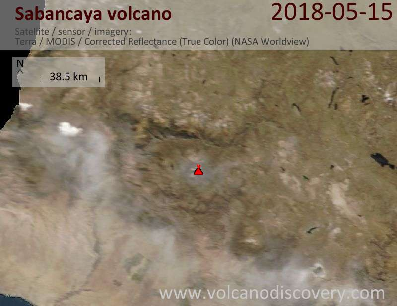 Satellite image of Sabancaya volcano on 15 May 2018