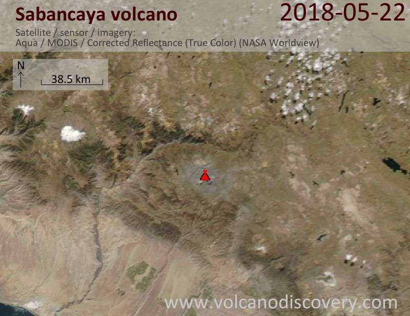 Satellite image of Sabancaya volcano on 22 May 2018