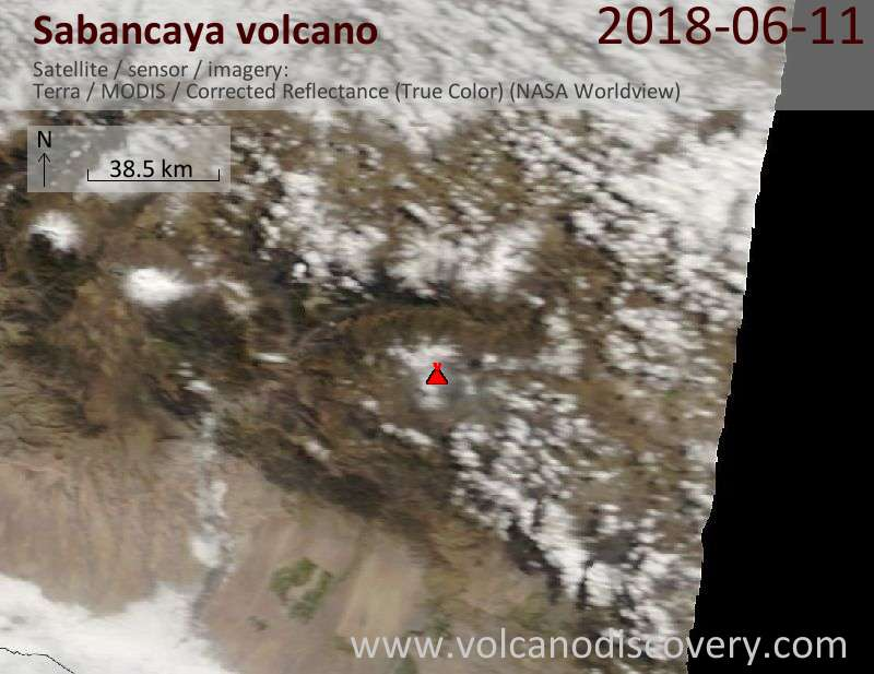 Satellite image of Sabancaya volcano on 11 Jun 2018
