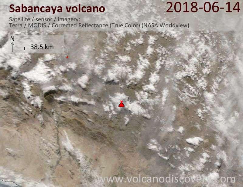 Satellite image of Sabancaya volcano on 14 Jun 2018