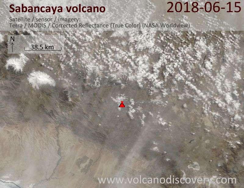 Satellite image of Sabancaya volcano on 15 Jun 2018