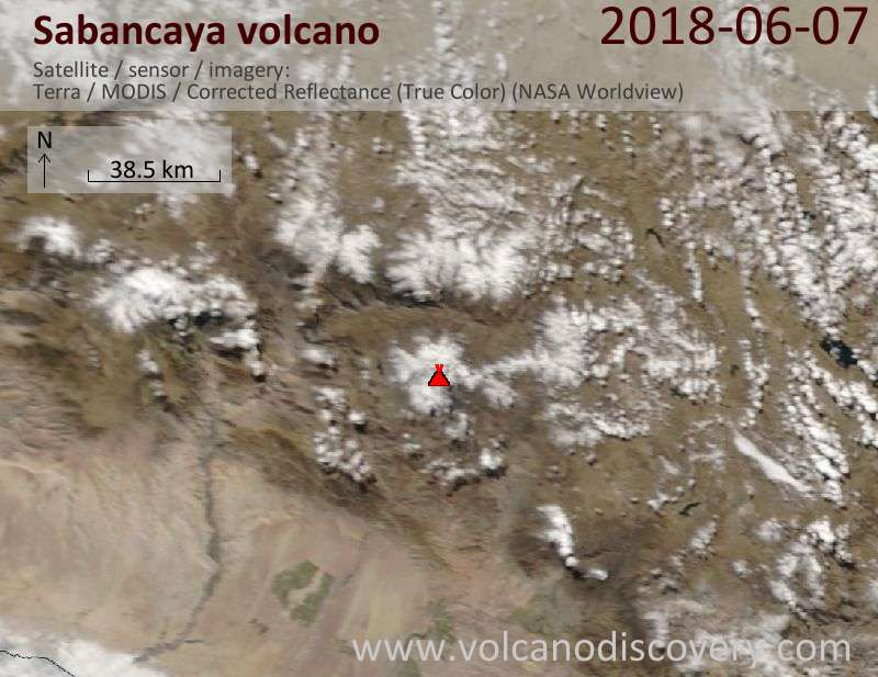 Satellite image of Sabancaya volcano on  7 Jun 2018