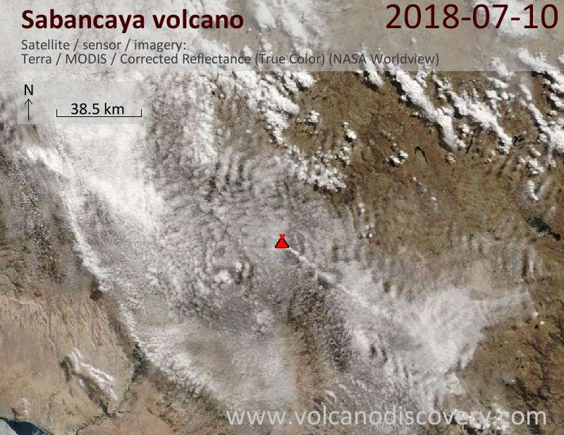Satellite image of Sabancaya volcano on 10 Jul 2018