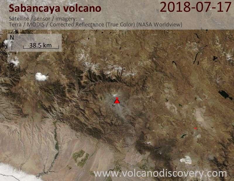 Satellite image of Sabancaya volcano on 17 Jul 2018