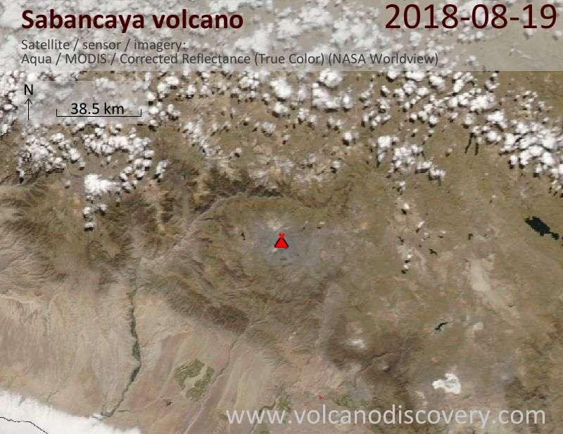 Satellite image of Sabancaya volcano on 19 Aug 2018