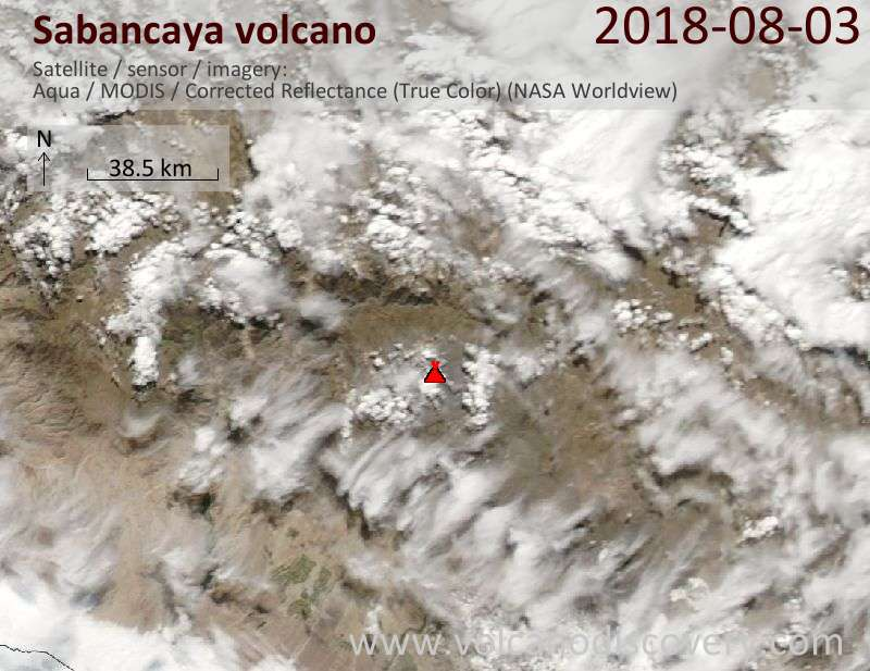 Satellite image of Sabancaya volcano on  4 Aug 2018