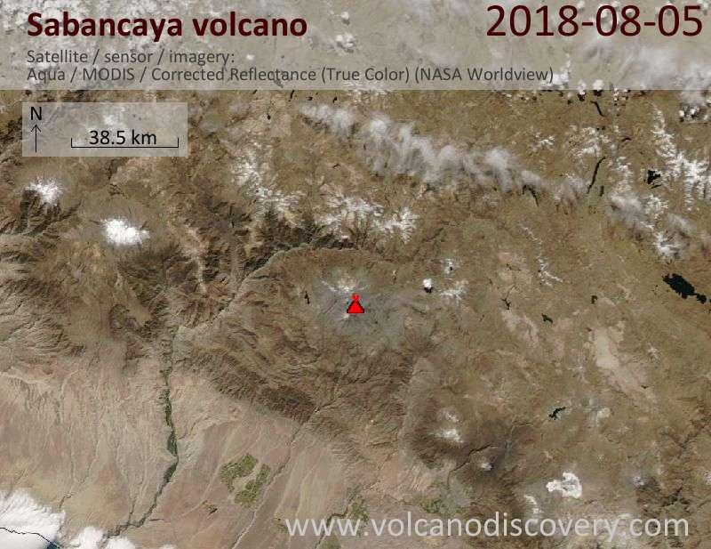 Satellite image of Sabancaya volcano on  6 Aug 2018