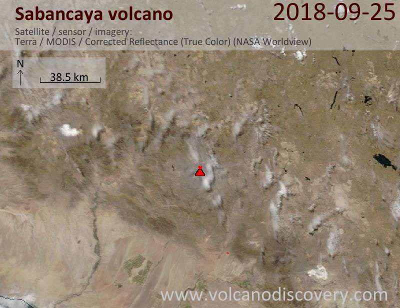 Satellite image of Sabancaya volcano on 25 Sep 2018
